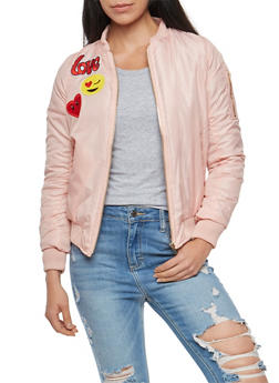 Bomber Jacket with Graphic Patches - 3084038348085
