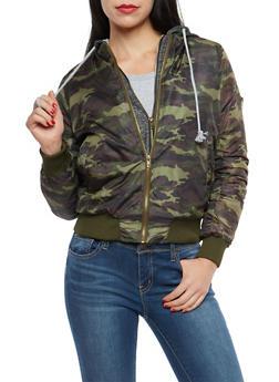 Hooded Double Zip Bomber Jacket - 3084038348087