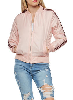 Bomber Jacket with Varsity Stripe Detail - 3084038348088