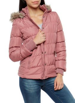 Ruched Bubble Jacket with Faux Fur Lined Hood - 3084051060400