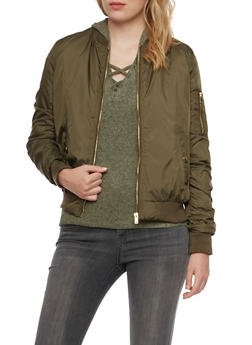 Satin Bomber Jacket with Ruching - OLIVE - 3084051060910