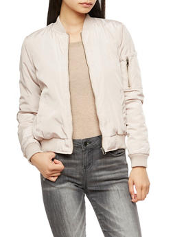 Solid Bomber Jacket - TAN - 3084051061000