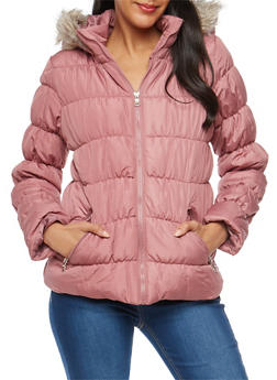 Ruched Puffer Jacket - ROSE - 3084051061740