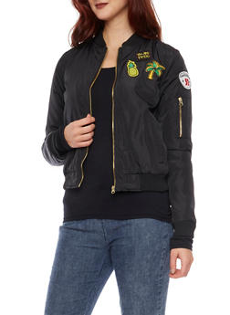 Bomber Jacket with Patches - BLACK - 3084051062518