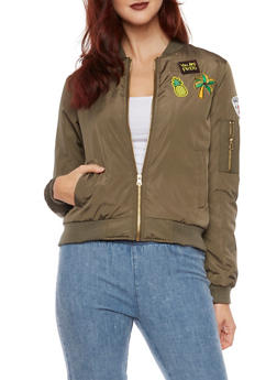 Bomber Jacket with Patches - OLIVE - 3084051062518
