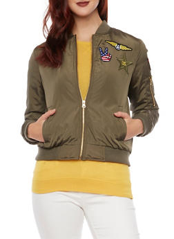 Silky Bomber Jacket with Patches - 3084051062519