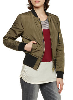 Bomber Jacket with Ribbed Trim - 3084051062520