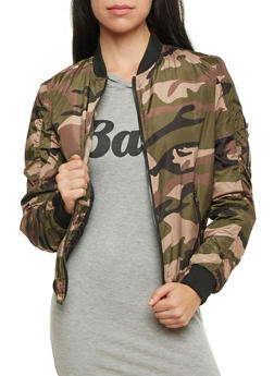Bomber Jacket with Camo Print - 3084051062521