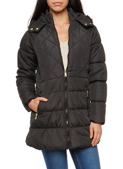 Faux Fur Hooded Long Puffer Jacket - 3084051062600