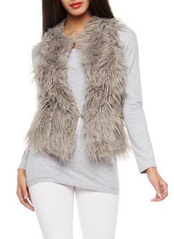 Gray Shag Faux Fur Vest - 3084051064848