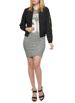Bomber Jacket with Quilted Lining - BLACK - 3084051065100
