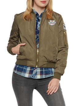 Military Bomber Jacket with Patches - OLIVE - 3084051065101