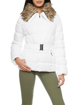 Belted Puffer Jacket with Faux Fur Trim - 3084051067002