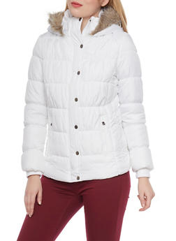 Hooded Puffer Jacket with Faux Fur Trim - 3084051067004