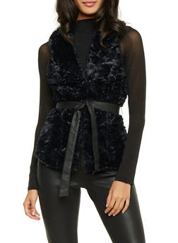 Faux Fur Vest with Faux Leather Belt - BLACK - 3084051067276