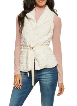 Faux Fur Vest with Faux Leather Belt - 3084051067276