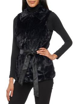 Faux Fur Vest with Faux Leather Belt - BLACK - 3084051067521