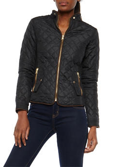 Quilted Barn Jacket with Ribbed Knit Sides - 3084051067594