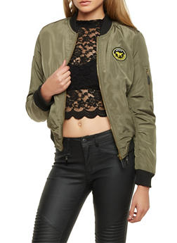 Bomber Jacket with Faux Fur Lining - 3084054266915