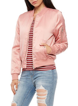 Satin Zip Bomber Jacket - 3084054268873