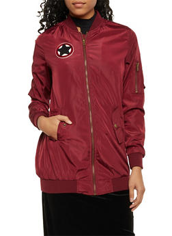 Long Bomber Jacket with Patch - BURGUNDY - 3084054269224