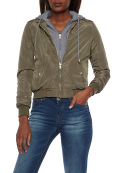 Bomber Jacket with Fleece Hoodie - 3084054269225