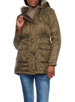 Anorak Jacket with Faux Fur Trimmed Hood - OLIVE - 3084064212830