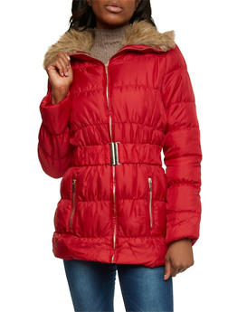 Belted Puffer Jacket with Faux Fur Trim - 3084064212997