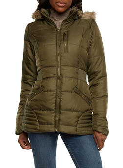 Puffer Jacket with Faux Fur Trim Hood - 3084064213006