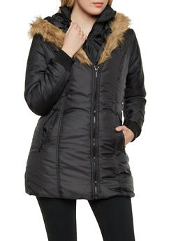 Hooded Puffer Coat with Faux Fur Trim - 3084064213021