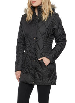 Quilted Puffer Coat with with Removable Hood - 3084064218910