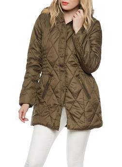 Quilted Puffer Coat with Removable Hood - 3084064218910