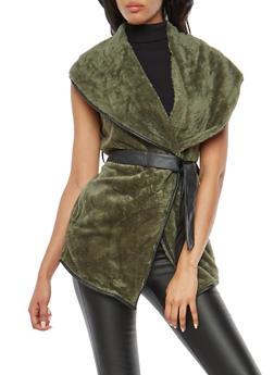 Fleece Tie Waist Vest with Faux Leather Detail - OLIVE S - 3084072291680