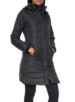 Long Puffer Coat with Removable Hood - 3084073773024