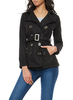 Belted Wool Peacoat - 3085051060344
