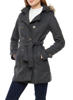 Faux Fur Hood Peacoat - 3085051061740