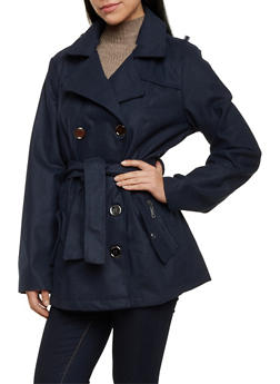 Belted Felt Peacoat with Wide Notch Lapel - 3085051063034
