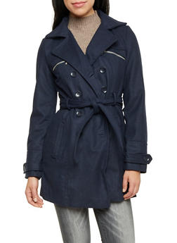 Belted Felt Coat with Notched Lapel - 3085051063500