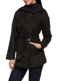 Belted Felt Coat with Attached Hood - 3085051064158
