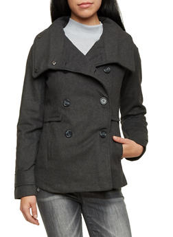 Felt Peacoat with Funnel Neck - 3085051064240