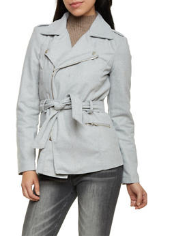 Felt Moto Jacket with Waist Belt - 3085051064777