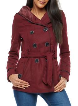 Wool Hooded Peacoat Jacket - WINE - 3085051065000