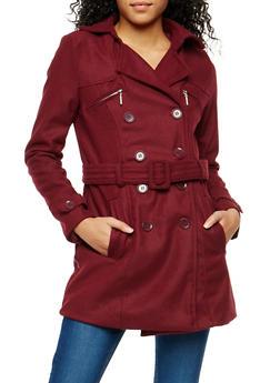 Zip Pocket Belted Peacoat - 3085051065001