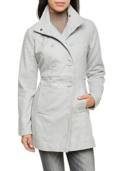 Felt Peacoat with Funnel Neck - 3085051065186