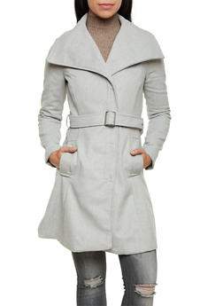 Belted Felt Coat with Oversize Collar - 3085051065187