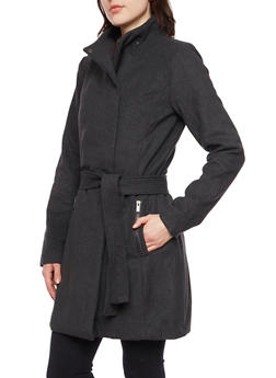 Felt Coat with Funnel Neck and Belt - 3085051065192