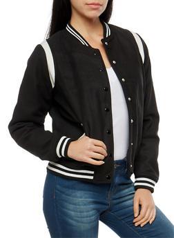 Wool Snap Front Bomber Jacket - BLACK - 3085051065222