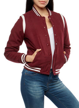 Wool Snap Front Bomber Jacket - WINE - 3085051065222