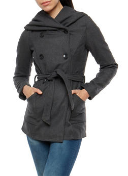 Button Front Hooded Peacoat Jacket - 3085051065800