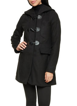 Felt Toggle Coat with Attached Hood - 3085051067507
